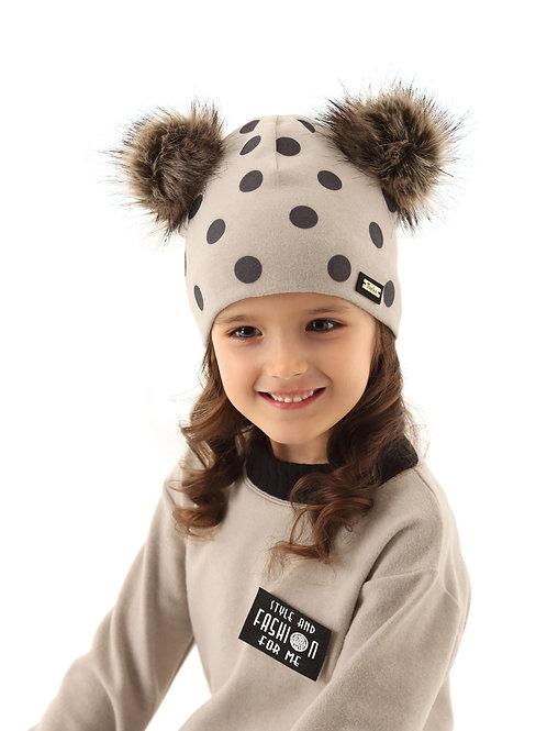 Lt Grey Polka Dot Girls Hat w/2 Pom Poms