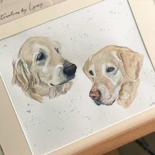 Two Pets Head Only 12x16 Pet Portrait with 16x20 Mount