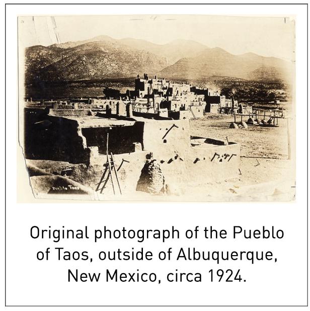 Original photograph of the Pueblo of Taos, outside of Albuquerque, New Mexico, circa 1924.