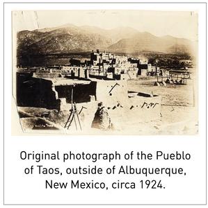 Original photograph of the Pueblo of Taos, outside of Albuquerque, New Mexico, circa 1924.