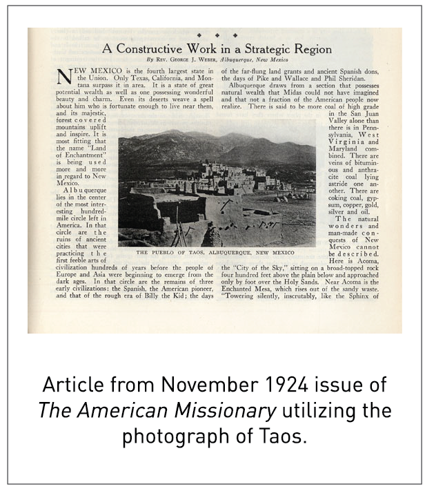 Article from November 1924 issue of The American Missionary utilizing the photograph of Taos.