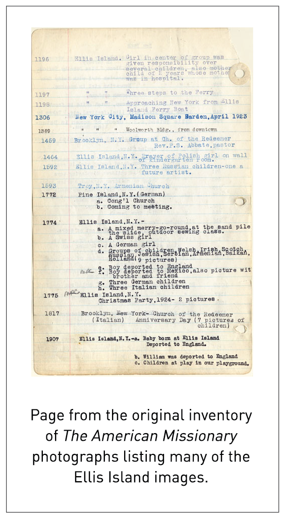 Page from the original inventory of The American Missionary photographs listing many of the Ellis Island images.