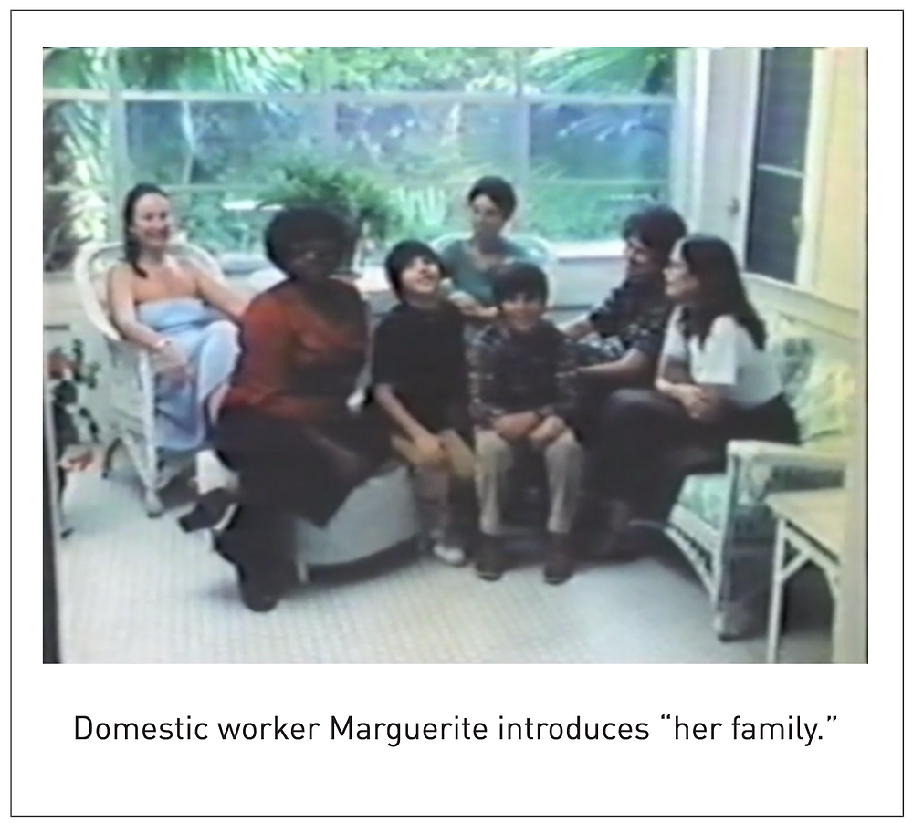 "Domestic worker Marguerite introduces ""her family."""