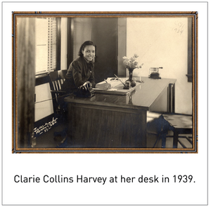 Clarie Collins Harvey at her desk in 1939.