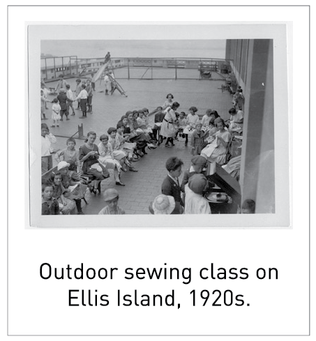 Outdoor sewing class on Ellis Island, 1920s.