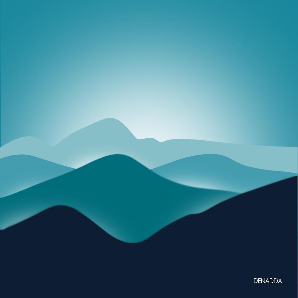 DENADDA, illustrations minimaliste sur denadda.officiel sur instagram, réalisé sur ipad pro avec procreate,  blue moutnain australie, montagnes bleues avec couleurs et lumières