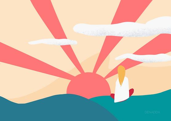 Au sommet, une aventure initiatique avec une petite fille blonde regardant un coucher de soleil parmis les nuages, assise sur ses montagnes vertes en méditation