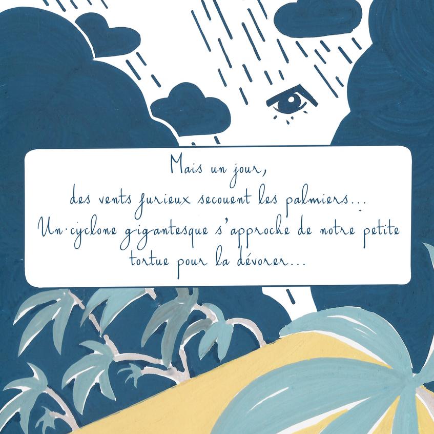 Denadda, Eya, illustrations acyliques, toucan, crable, perroquet, couleurs pastls, elma bouthors et sam vegas, illustrations cyclone, tempee pour les palmiers, oueil du cyclone,