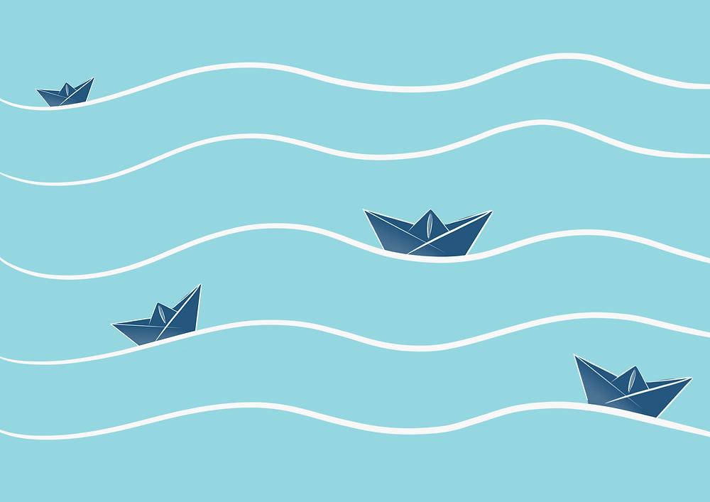 DENADDA, MOTS SUR MESURE, LA M2TAMORPHOSE DS COCOTTES EN PAPIER, DES PETITES COCOTTES EN PAPIER SUR l'eau, dans les vagues, bleu, illustration graphique d'Elma Bouthors