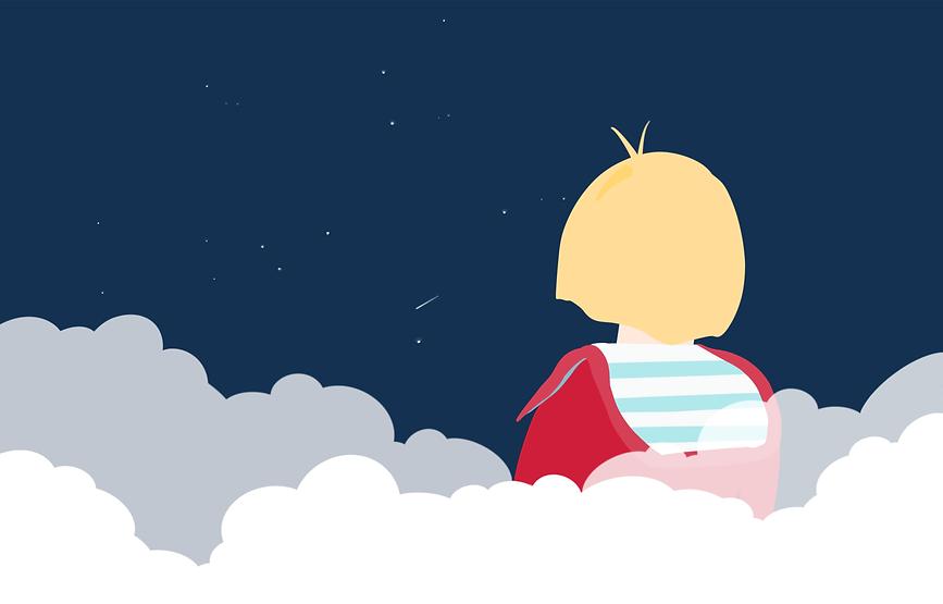 Couverture du livre de Marin dans les nuages de la collection Denadda, un petit garçon blond avec un pull rouge et un teeshirt marinière bleu et blanc assis sur son nuages, regardant le ciel bleu nuit étoilé