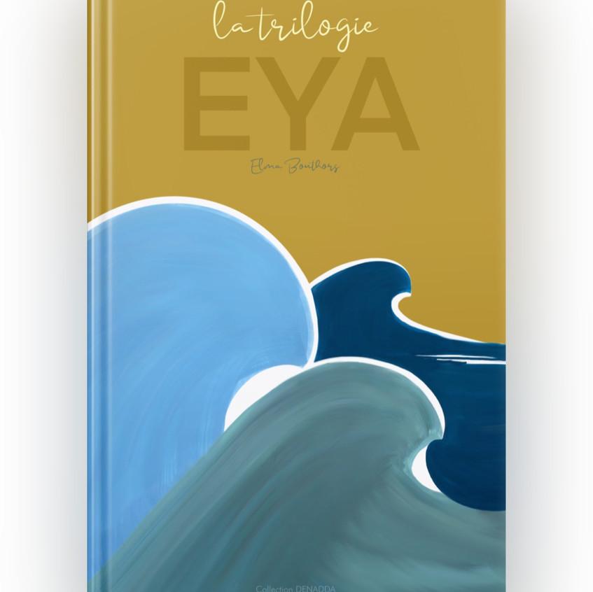 eya, une tortue de mer philosophie, DENADDA, iboo, ebook réalisé aux feutres acryliques, couleurs pastels et douces, la trilogie, crabes, mer océans, amis vagues dans des nuances de bleues sur fond doré