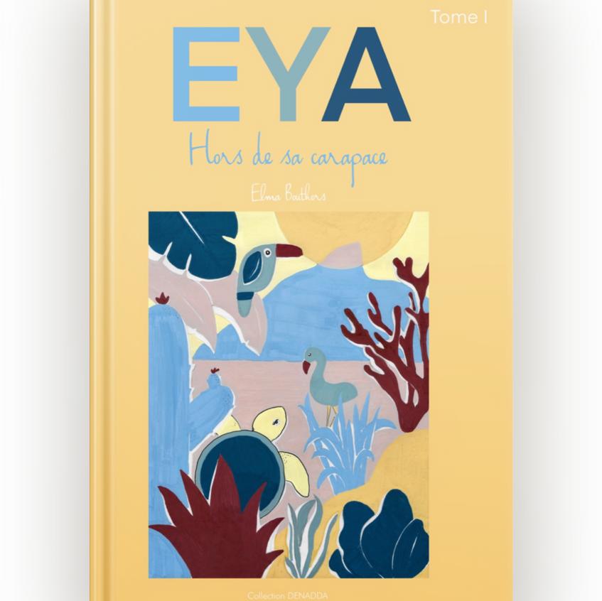 eya hors de sa carapace, Denadda, ibook, ebook, sur une tortue de mer, illustration feutres acryliques, colorés et gaie, mer, océan, couleurs pastel, conte initiatique pour les enfants et les parents