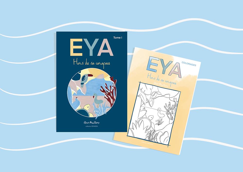 DENADDA, livres papiers en préparation, illustration minimaliste réaliisée sur proecreate, digital art, eya, au sommet et livret de voloriage avec théirer japonaise bleue sur fond jaune. création d'Elma Bouthors