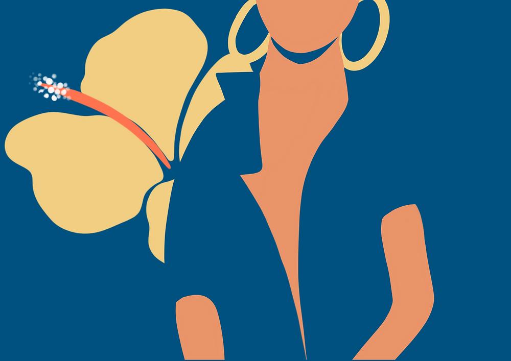 DENADDA, illustration par elma bouthors d'un femme noir sur fond  marine avec de grosses boucles d'oreilles créoles et des et une lfeur hawaien.cadeau pour la fête des mères ebook gratuit,  hommage à george flyod