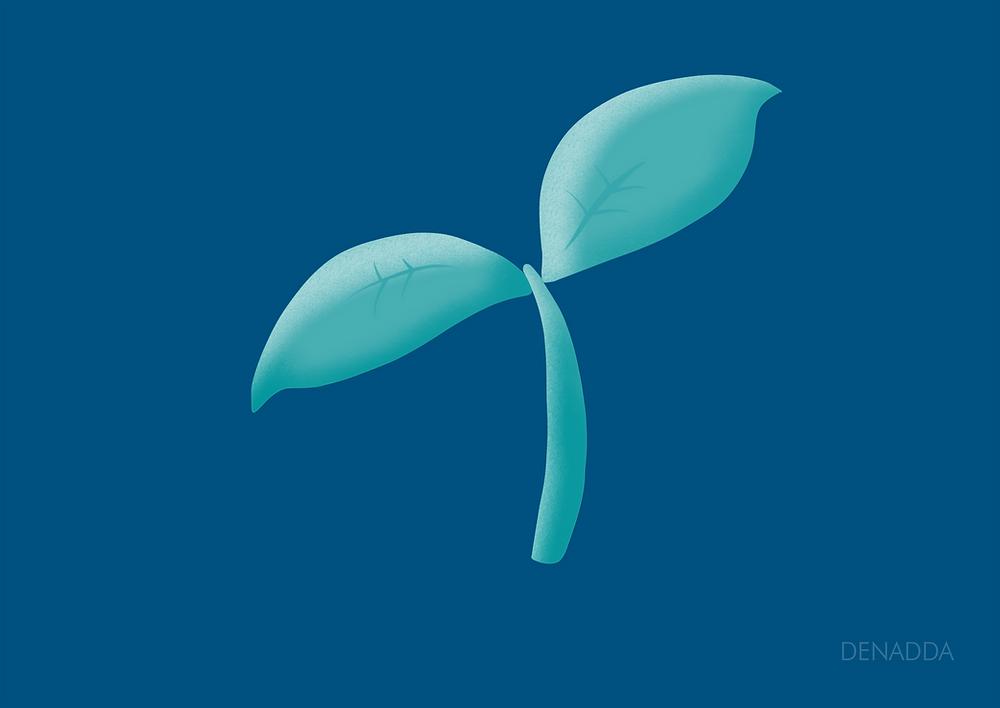 DENADDA, illustrations minimaliste d'une pousse, emoji instagram, sur un fond bleu nuit une pousse verte, dessin rèalisé sur procreate avec l'apple pencil par elma bouthors pour denadda. timelapse procreate  sur denadda.officiel sur instagram