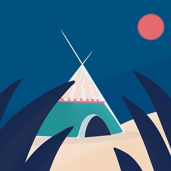 TIPEEE de denadda, un e illustration de tipi indien minimaliste sur fond bleu marine pour soutenir et faire un don à DENADDA.PNG