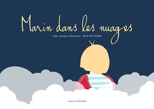 Le livre de Marin dans les nuages de la collection Denadda, un petit garçon blond avec un pull rouge et un teeshirt marinière bleu et blanc assis sur son nuages, regardant le ciel bleu nuit