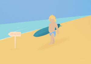 DENADDA, contes initiatiques pour tous illustration graphique une plage jaune avec un enfant qui fait du surf, un enfant blond, aux yeux bleus,, mer bleu, illustration d'elma bouthors pour le lancement du site denadda.com