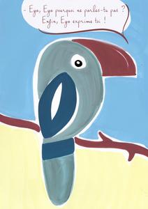 Eya DENADDA, toucan vert et bleu sur une branche d'arbre, sur fond de sable et de ciel, aux feutres acryliques, illustration graphique, conte initiatiques pour les enfants et leurs parents, Eya, trilogie maritime, francis huster,micha lescot, ebook, epub, audio livre, livre, B.D, dessin animé, carte, poster