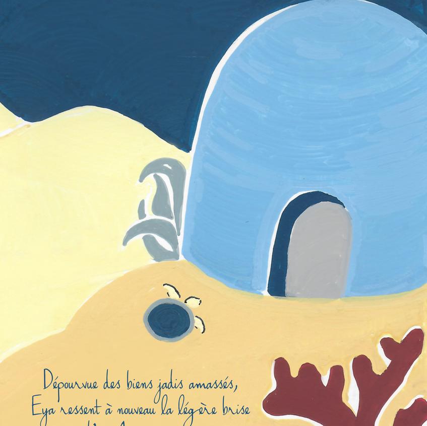 Denadda, Eya, illustrations acyliques, toucan, crable, perroquet, couleurs pastls, elma bouthors et sam vegas, illustrations, grotte bleu clair sous la mer avec sable jaune