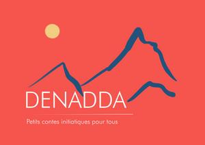 Denadda contes initiatiques pour tous, Elma bouthors et sma vegas, une montahgne au tbet sur fond rouage. avec un soleil jaune. Logo de DENADDA.com