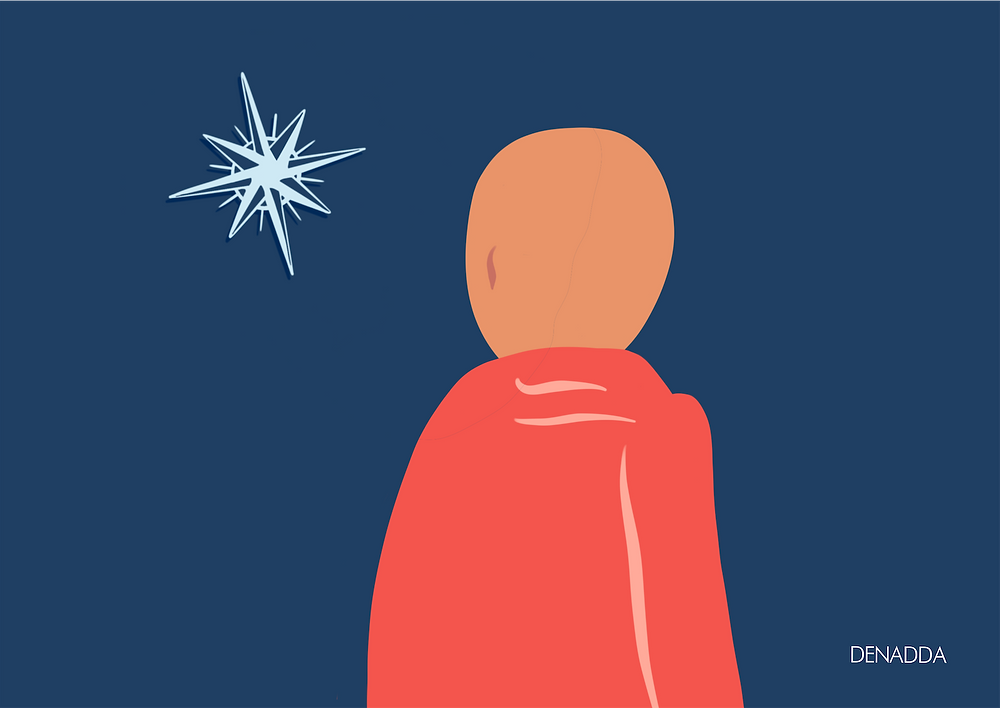 DENADDA, illustrations minimaliste sur denadda.officiel sur instagram, réalisé sur ipad pro avec procreate, un moine sur fond bleu, vêtu de orange, une boussle, des mots de sagesse et des vidéos