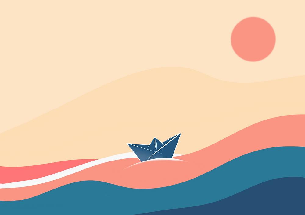 illlustration d'elma bouthors pour DENADDA, deux cocottte sen papiers bleu marine, sont sur des vagues de couleurs douces, bleu et orange, ssur  l'océan ou la mer, avec un soleil rose et un ciel bleu clair. lancement des mots sur mesure, service personnalisé dde message enregistré.