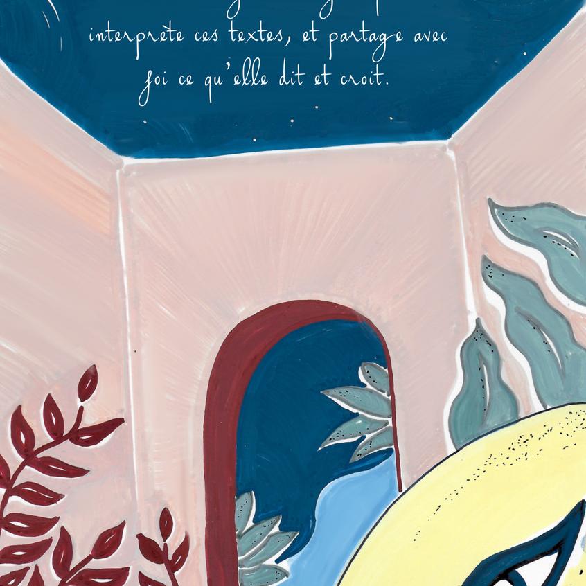 Denadda, Eya, illustrations acyliques, toucan, crable, perroquet, couleurs pastls, elma bouthors et sam vegas, illustrations, arène grecques sous la mer, illustration graphiques, tragédie grecque et algues, tortue jaune