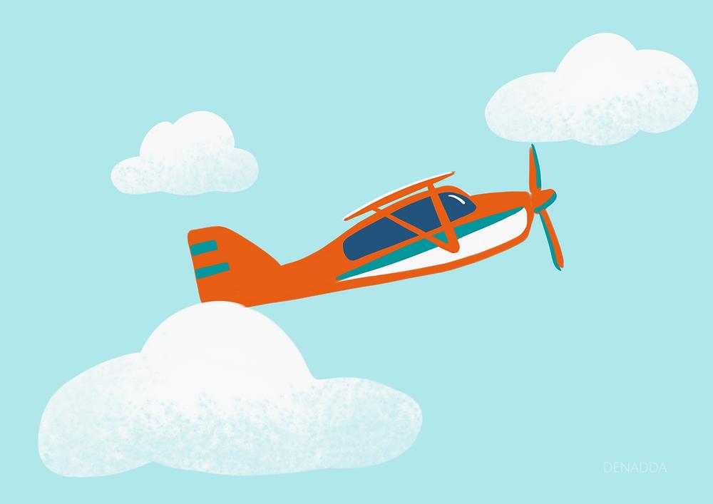 Denadda, illustration par Elma Bouthors sur proceate d'un avion orange dans un ciel bleu clair avec des nuages.