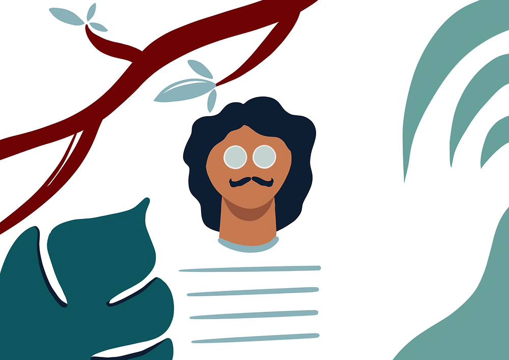 DENADDA, illustration par elma bouthors, fete des pères. un homme bronzé cheveux brun et grosses lunettes rondes, avec moustache et marinière, dans la jungle, sur fond blanc, illsutration graphique sur proceate