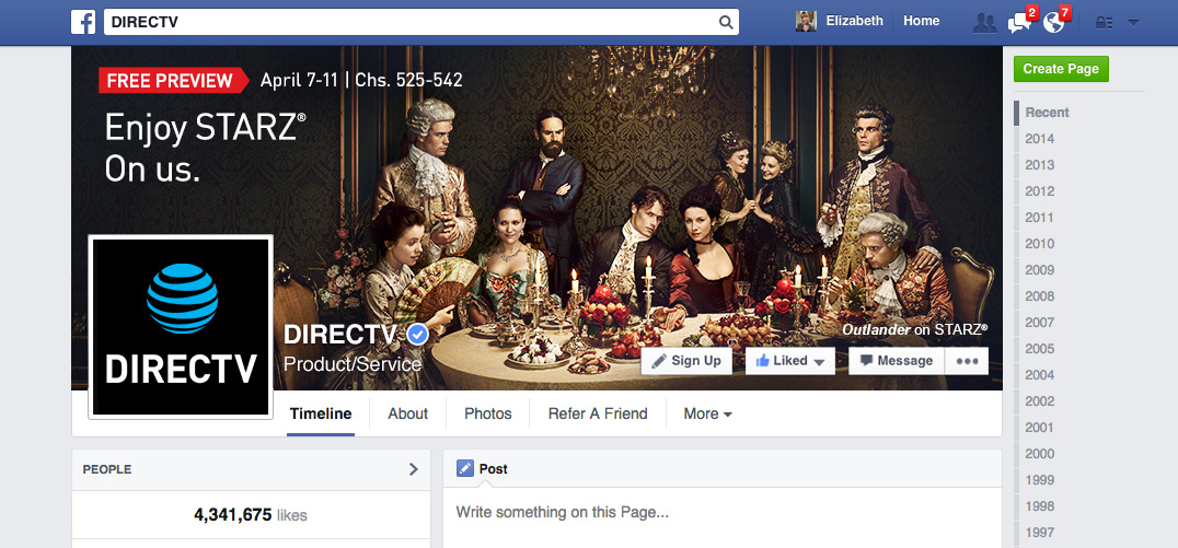 DIRECTV FB Header