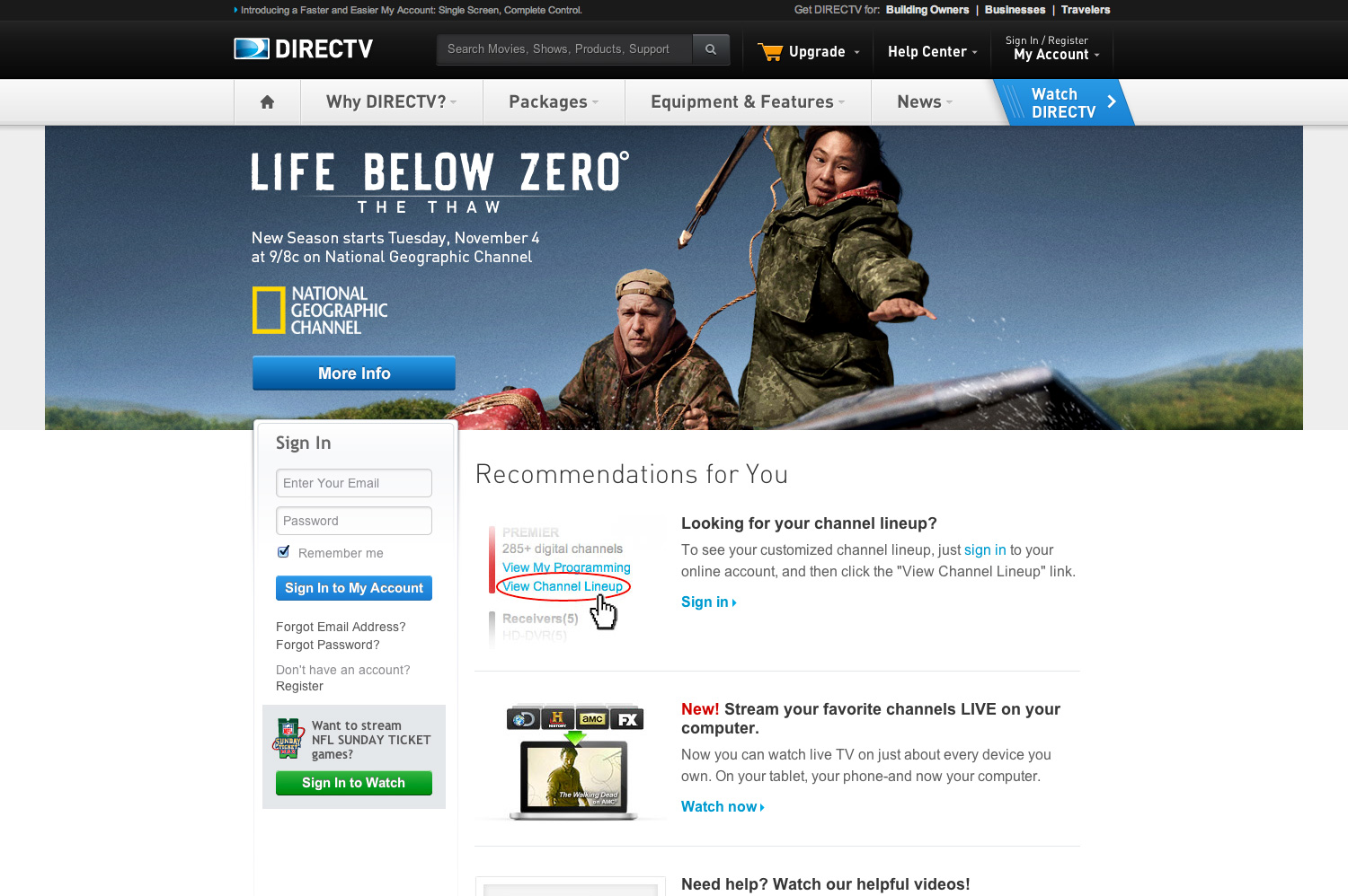 DIRECTV Tap A Customer Homepage