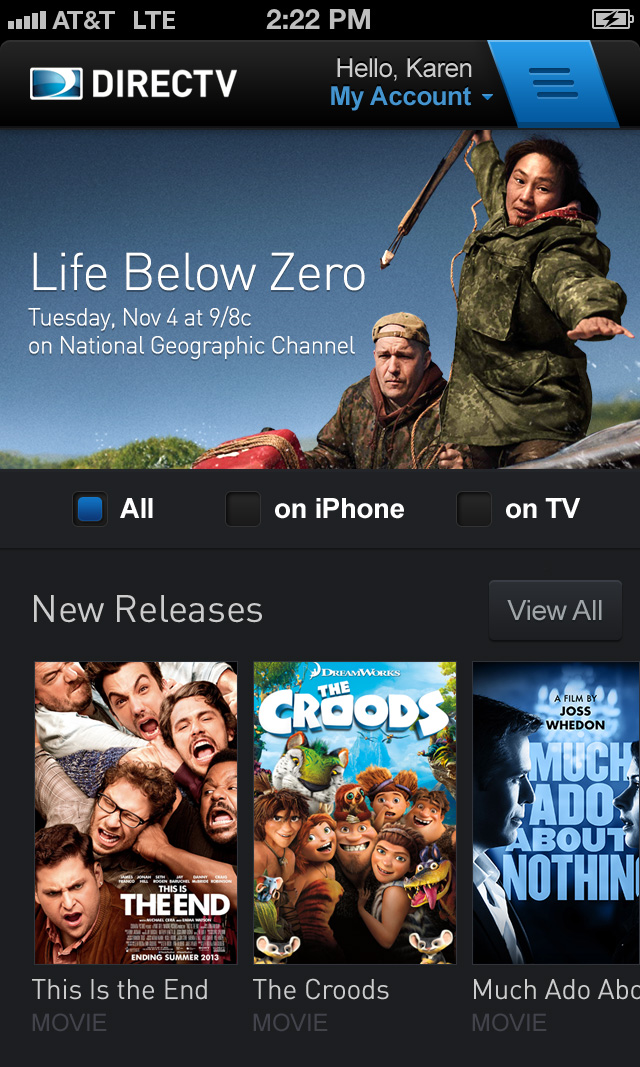 DIRECTV Tap A Mobile Header