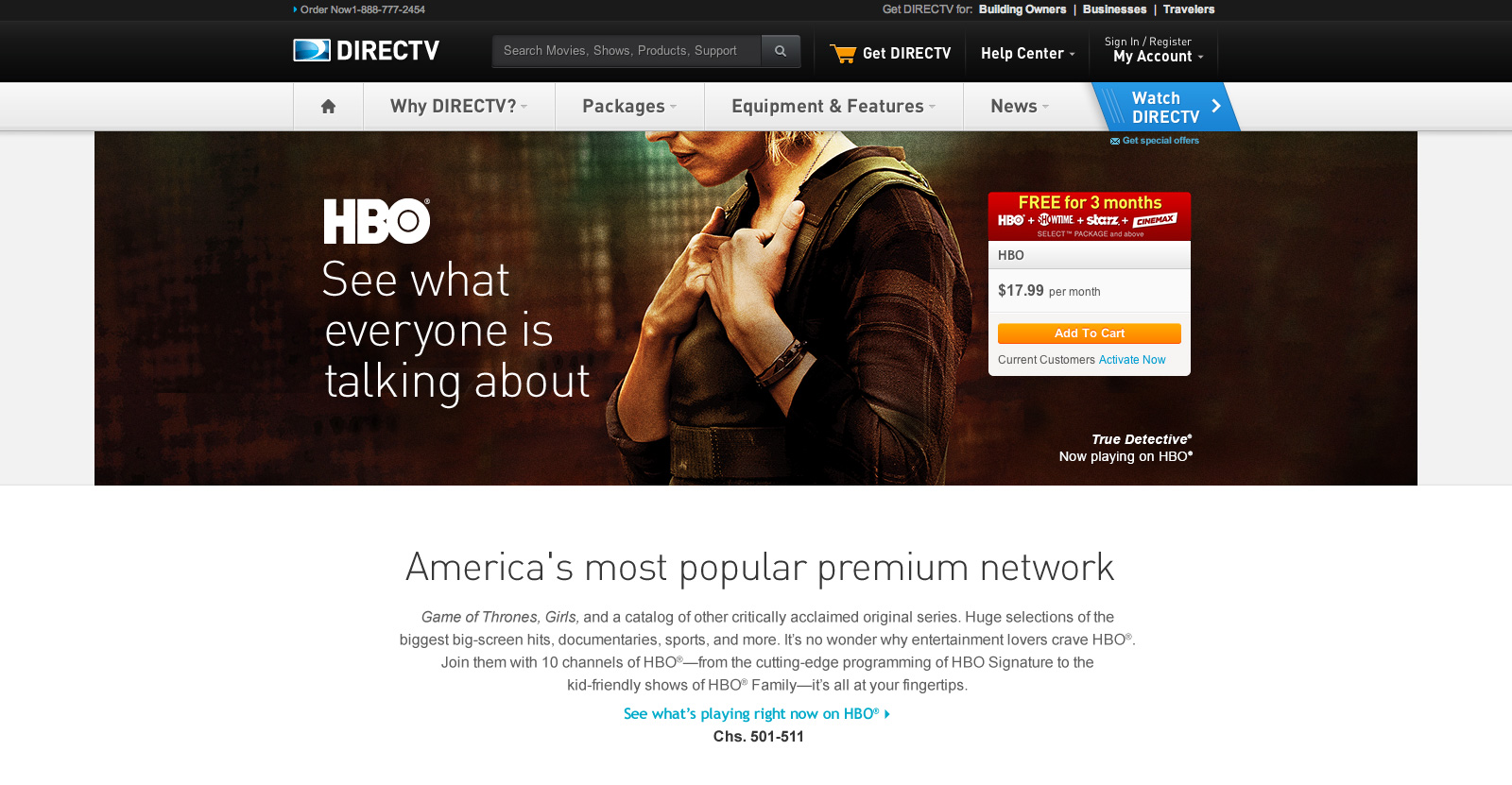 DIRECTV Premium Marketing Header