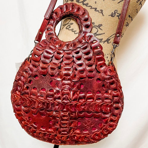 Patricia Nash Pisticci red leather chainlink bag