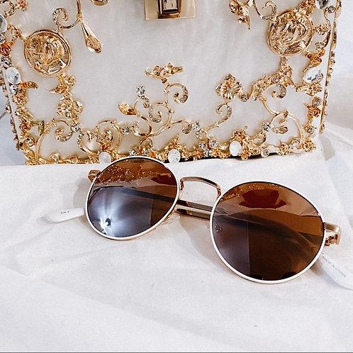 Round White Rim Sunglasses