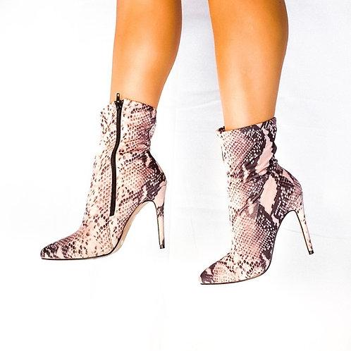 Snake Print Sock Stiletto Boots