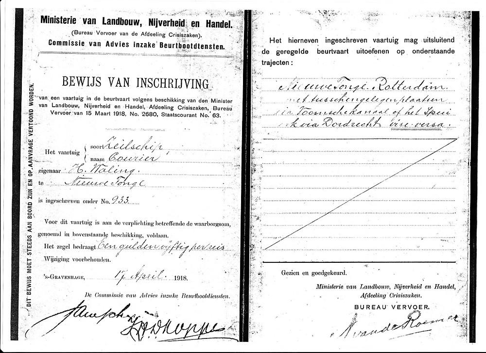 beurtvaartverklaring courier 1918
