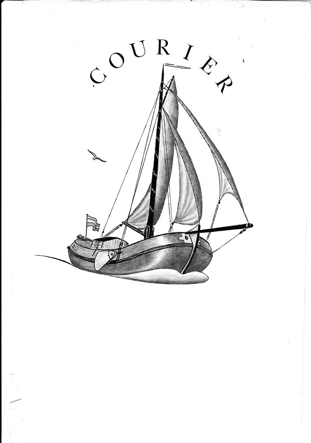 Paul van 't Net tekening voor het visitekaartje van zeilchartschip Courier
