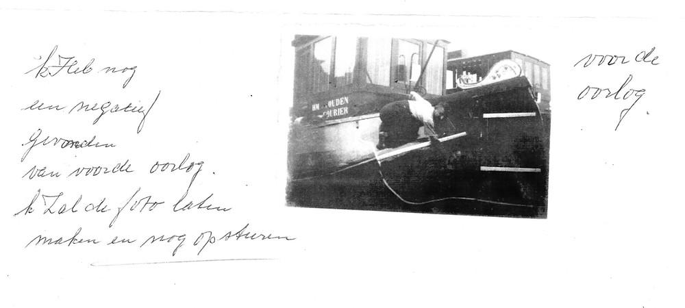 Courier met schipper HM vd Ouden. Voor de 2e wereldoorlog.