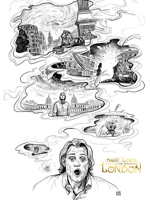 """Signed Dark Lines Of London Poster A4 """"Dream"""""""