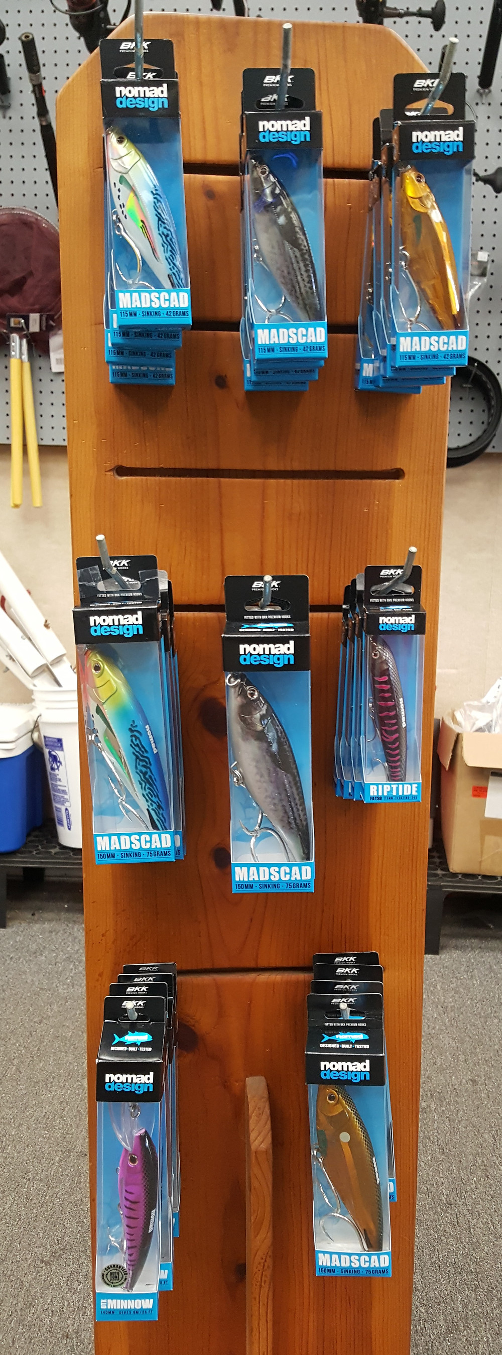 We have a great selection of new lures that will make perfect stocking stuffers, including a new selection of Nomad stick baits. Come in and check them out.