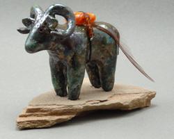 Big Horn Sheep, Copper Penny glaze, raku fired, 3.5 x 2 x 3 inches, mounted on flagstone