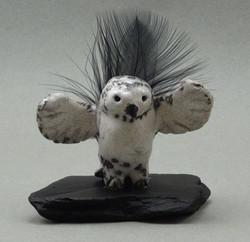 Owl, White Crackle glaze, raku fired, 3 x 2 x 1 inch, mounted on flagstone