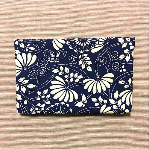 Kimono remake pouch for goshuin-cho: navy summer patterns