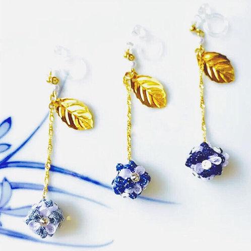 Ping pong denim flower earrings