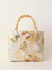 Nishijin-brocade tote bag(A) with bamboo handle