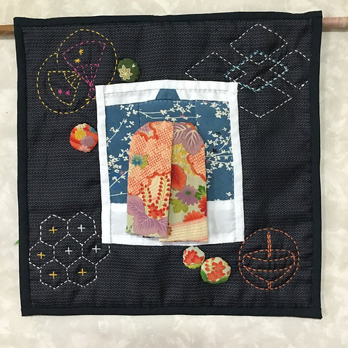 "Tapestry work-kimono with ""aduma bag"""