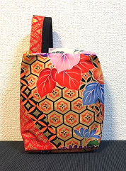 Kimono remake porch with handle : gold tortoiseshell / blue