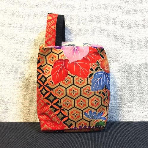 Kimono remake porch with handle : gold tortoiseshell / blue